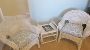 3 piece Wicker table and 2 chairs
