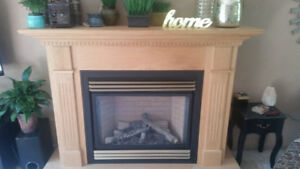 Electric Fireplace and oak mantel