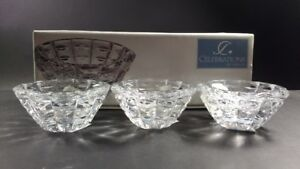 Celebrations Facets Set of 3 Crystal Votive Candleholders