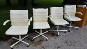Vintage 70's Chairs White Faux Leather swivel rocker