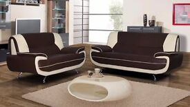 **ITALIAN LEATHER SOFA SUITE**NEW CAROL 3 AND 2 SEATER SOFA IN BLACK/RED, BLACK/WHITE AND BROWN/MINK