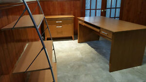 Desk, credenza and bookcase