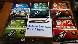 ELECTRONIC BRAIN GAMES PEN AND 5 BOOKS