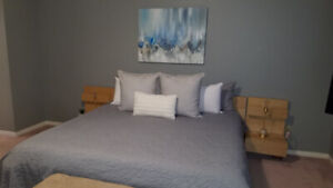 IKEA Malm King bed-frame, attached night stands and dressers