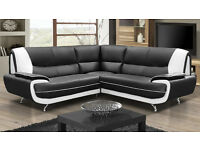 *48 HOUR DELIVERY* CAROL BLACK & WHITE BLACK & RED BROWN & CREAM FAUX LEATHER CORNER SOFA