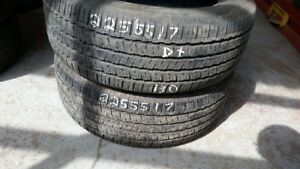 Pair of 2 Hankook Kinergy GT 225/65R17 tires (55% tread life)