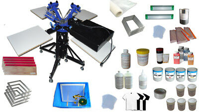 3 Color 4 Station Screen Printing Kit For Starter Diy Rotating Screen Printing