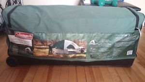 Coleman 6 Person Sundome Tent with chairs and sleeping bags