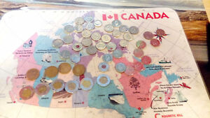 Canadian coins: Looneys, tooneys, quarters and  nickels.
