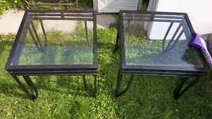 2 iron glass end tables
