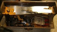 ANTIQUE HAND TOOLS DOVETAILED CHEST PLANES CHISELS WOODWORKING
