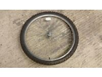 """26"""" front cycle wheel with inner tube and tyre"""