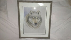 "31"" Wolf Print Double Matted Picture and Frame."