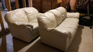 WHITE LEATHER PALLISTER COUCHES