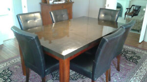 Dining table with 6 faux leather chairs for sale