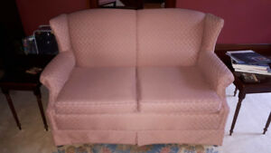 Wing-back loveseat with 2 custom slipcovers, excellent condition