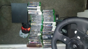 Xbox One X w/ over 75 games, Wheel and Shifter, 3 controllers