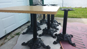 BLACK CAST TABLE BASE & ARBORITE TABLE