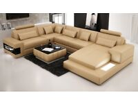 Brand New Sandbeige Large Leather Corner Sofa
