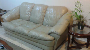 real leather couch and two chairs