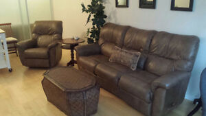 Lazy-boy leather sofa and chair