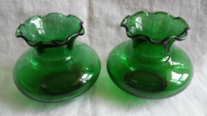 2 Small Vintage Anchor Hocking Forest Green Glass Vases