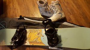 Girls Snowboard, bindings, boots, bag, goggles and gloves