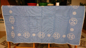 Vintage Hand Stitched, Crocheted, Blue Table Cloth
