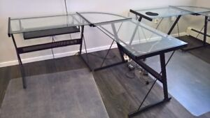 Multiple Glass and Black Metal Desks - great for student!