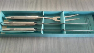 Vintage Stainless Steel 3 Piece Carving Set, Hollow Ground