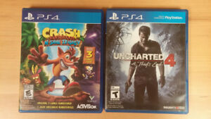 PS4 Games (Crash N-sane Trilogy + Uncharted 4)