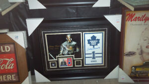 JOHNNY BOWER  AUTO/SIGNED GAME USED STICK-MLG SEAT PHOTO FRAMED