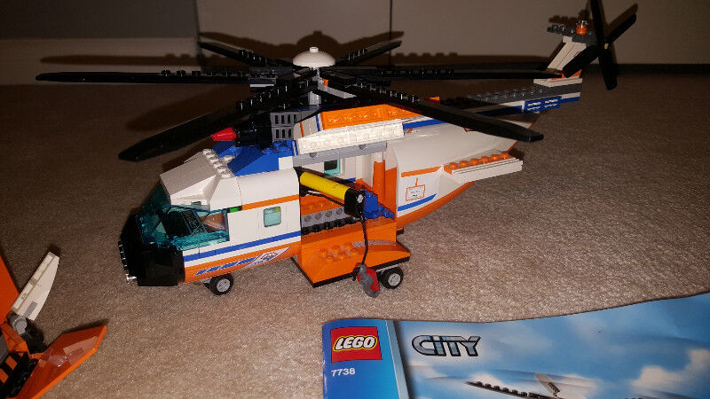 Complete Lego Set Coast Guard Helicopter Life Raft 7738 Toys