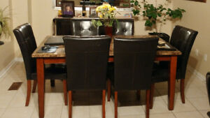 Marble top dining table w/6 chairs + bench