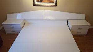 Meubles de chambre à coucher en stratifié et mélamine  blancs