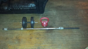 Weight Bar & Dumbells with weights