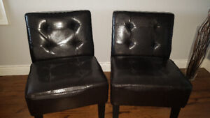 2 Faux Leather accent chairs