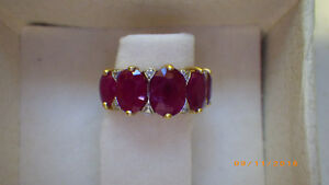 LADIES YELLOW GOLD RUBY AND DIAMOND RING Peterborough Peterborough Area image 3