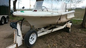 14' ANCHOR BOAT, MOTOR, TRAILER. $1200.00
