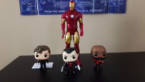 Punisher, Deadshot, and Doctor Who Funko pops and Iron man fig.