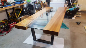 Maple Glass and Steel Live Edge Slab Dining Table