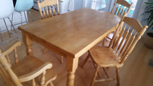 Harvest Solid Hardwood Table with Four Chairs