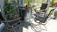 High End Patio Bar & 3 High End Tropitone Swivel Bar Chairs $450