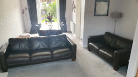 Dark brown leather suite 3 + 2 + large footstool