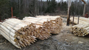fence posts and rails and mulch
