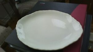 Oval White Ceramic Serving Platter - 10 inches long