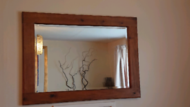Mirror Chunky Rustic Thick Extra Large Pine Wood Bevelled Glass Oak Wa