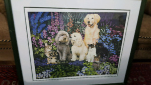 DOGS AND CATS WALL PAINTING FOR SALE! SIGNED BY ARTIST! MINT!