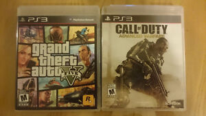 Jeux PS3 GTA 5 et Call of Duty Advanced Warfare 15$ chq