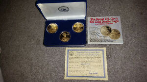 3 1 oz silver coins layered in 24 karat gold with COA...........